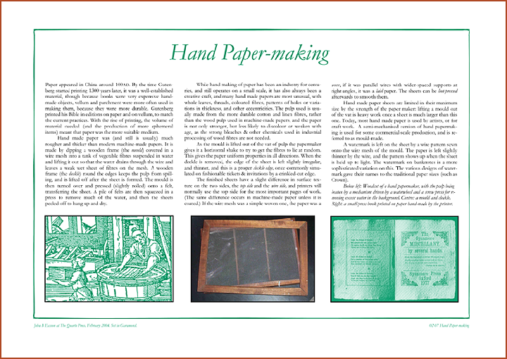 Hand Paper Making